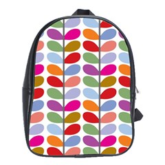 Colorful Bright Leaf Pattern Background School Bags (XL)