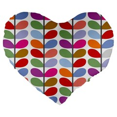 Colorful Bright Leaf Pattern Background Large 19  Premium Heart Shape Cushions