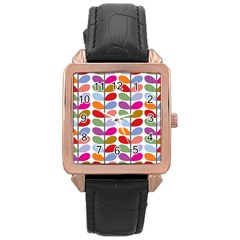 Colorful Bright Leaf Pattern Background Rose Gold Leather Watch