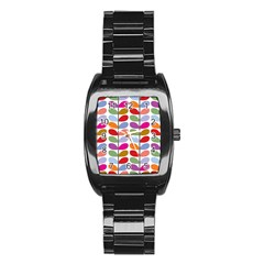 Colorful Bright Leaf Pattern Background Stainless Steel Barrel Watch