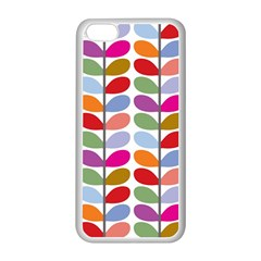 Colorful Bright Leaf Pattern Background Apple iPhone 5C Seamless Case (White)