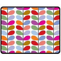 Colorful Bright Leaf Pattern Background Double Sided Fleece Blanket (medium)