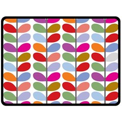 Colorful Bright Leaf Pattern Background Double Sided Fleece Blanket (Large)