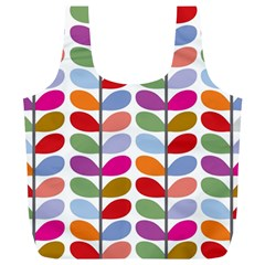 Colorful Bright Leaf Pattern Background Full Print Recycle Bags (l)