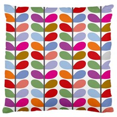 Colorful Bright Leaf Pattern Background Large Flano Cushion Case (One Side)