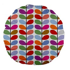 Colorful Bright Leaf Pattern Background Large 18  Premium Flano Round Cushions