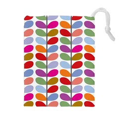 Colorful Bright Leaf Pattern Background Drawstring Pouches (extra Large)