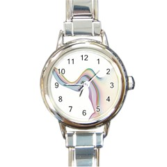 Abstract Ribbon Background Round Italian Charm Watch