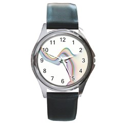 Abstract Ribbon Background Round Metal Watch