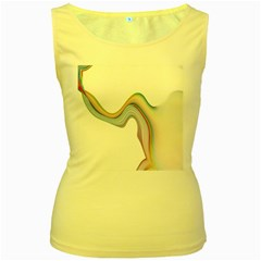 Abstract Ribbon Background Women s Yellow Tank Top