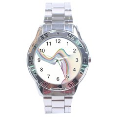 Abstract Ribbon Background Stainless Steel Analogue Watch