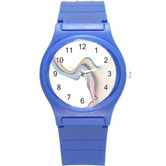 Abstract Ribbon Background Round Plastic Sport Watch (S)