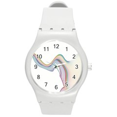 Abstract Ribbon Background Round Plastic Sport Watch (M)