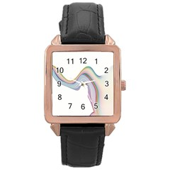 Abstract Ribbon Background Rose Gold Leather Watch