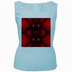 Impressive Red Fractal Women s Baby Blue Tank Top