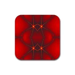 Impressive Red Fractal Rubber Coaster (Square)
