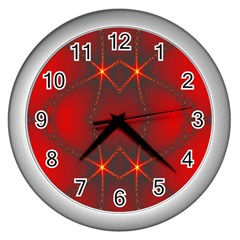 Impressive Red Fractal Wall Clocks (silver)