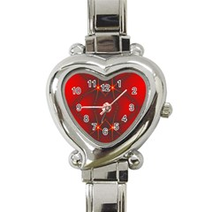 Impressive Red Fractal Heart Italian Charm Watch