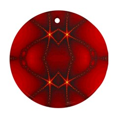 Impressive Red Fractal Round Ornament (two Sides)