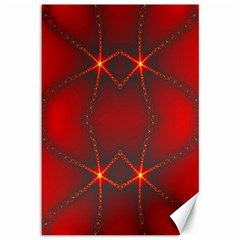 Impressive Red Fractal Canvas 12  X 18