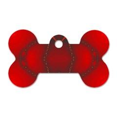 Impressive Red Fractal Dog Tag Bone (one Side)