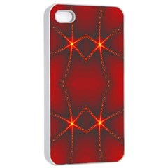 Impressive Red Fractal Apple iPhone 4/4s Seamless Case (White)