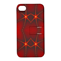 Impressive Red Fractal Apple Iphone 4/4s Hardshell Case With Stand