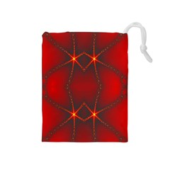 Impressive Red Fractal Drawstring Pouches (medium)