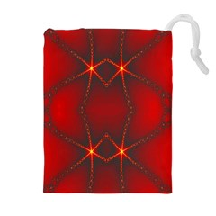 Impressive Red Fractal Drawstring Pouches (Extra Large)