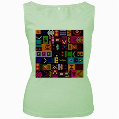 Abstract A Colorful Modern Illustration Women s Green Tank Top