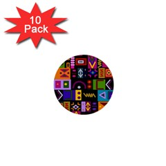 Abstract A Colorful Modern Illustration 1  Mini Buttons (10 Pack)