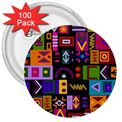 Abstract A Colorful Modern Illustration 3  Buttons (100 Pack)