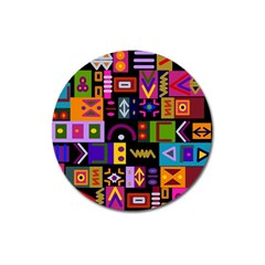 Abstract A Colorful Modern Illustration Magnet 3  (Round)
