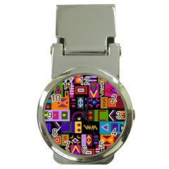 Abstract A Colorful Modern Illustration Money Clip Watches