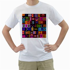 Abstract A Colorful Modern Illustration Men s T-Shirt (White)