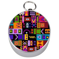 Abstract A Colorful Modern Illustration Silver Compasses
