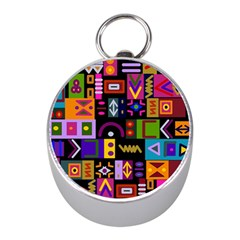 Abstract A Colorful Modern Illustration Mini Silver Compasses