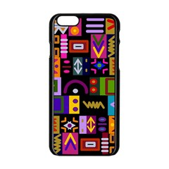 Abstract A Colorful Modern Illustration Apple iPhone 6/6S Black Enamel Case