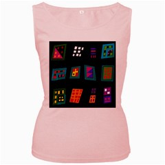 Abstract A Colorful Modern Illustration Women s Pink Tank Top