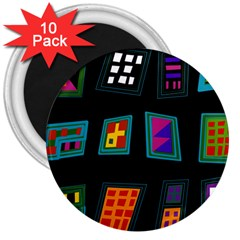 Abstract A Colorful Modern Illustration 3  Magnets (10 pack)