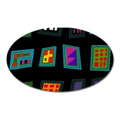 Abstract A Colorful Modern Illustration Oval Magnet