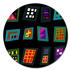 Abstract A Colorful Modern Illustration Magnet 5  (round)