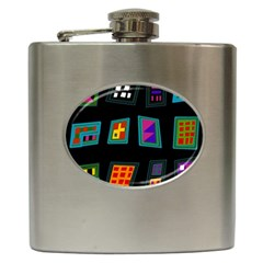 Abstract A Colorful Modern Illustration Hip Flask (6 Oz)