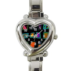 Abstract A Colorful Modern Illustration Heart Italian Charm Watch