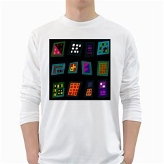 Abstract A Colorful Modern Illustration White Long Sleeve T Shirts