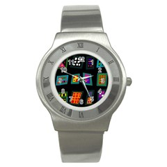 Abstract A Colorful Modern Illustration Stainless Steel Watch
