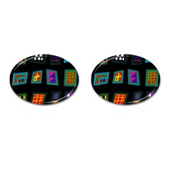 Abstract A Colorful Modern Illustration Cufflinks (oval)