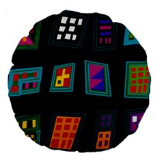 Abstract A Colorful Modern Illustration Large 18  Premium Round Cushions