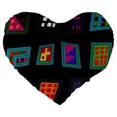Abstract A Colorful Modern Illustration Large 19  Premium Heart Shape Cushions