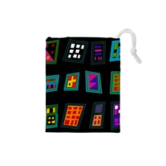 Abstract A Colorful Modern Illustration Drawstring Pouches (small)